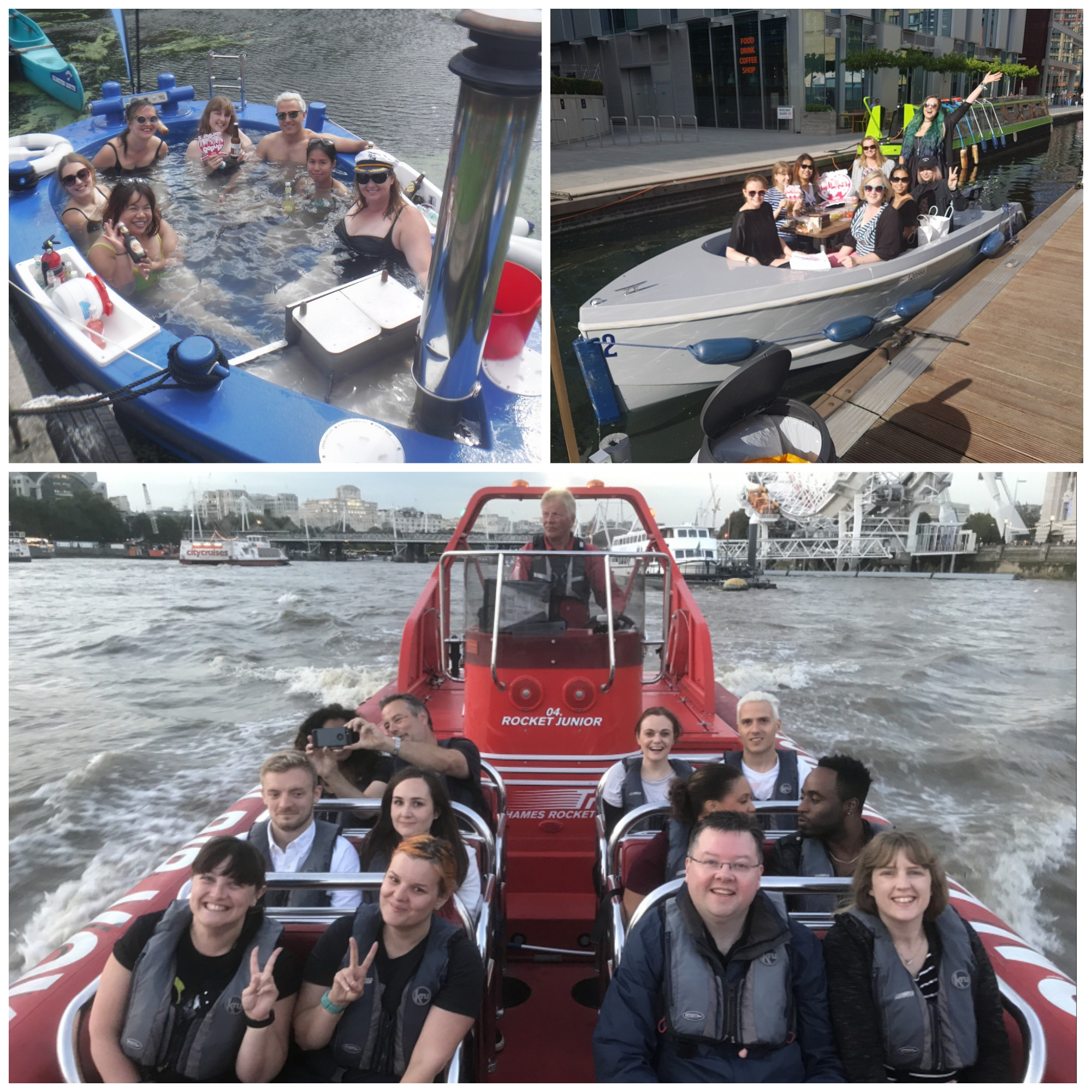 Hot Tug, GoBoat and Thames Rocket bloggers together
